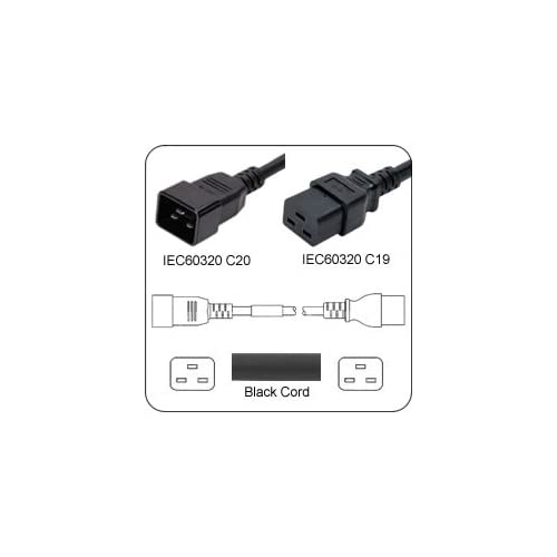 AC Power Cord Iec 60320 C20 Plug To C19 Connector 5 Feet 20A/250V 12/3 Sjt