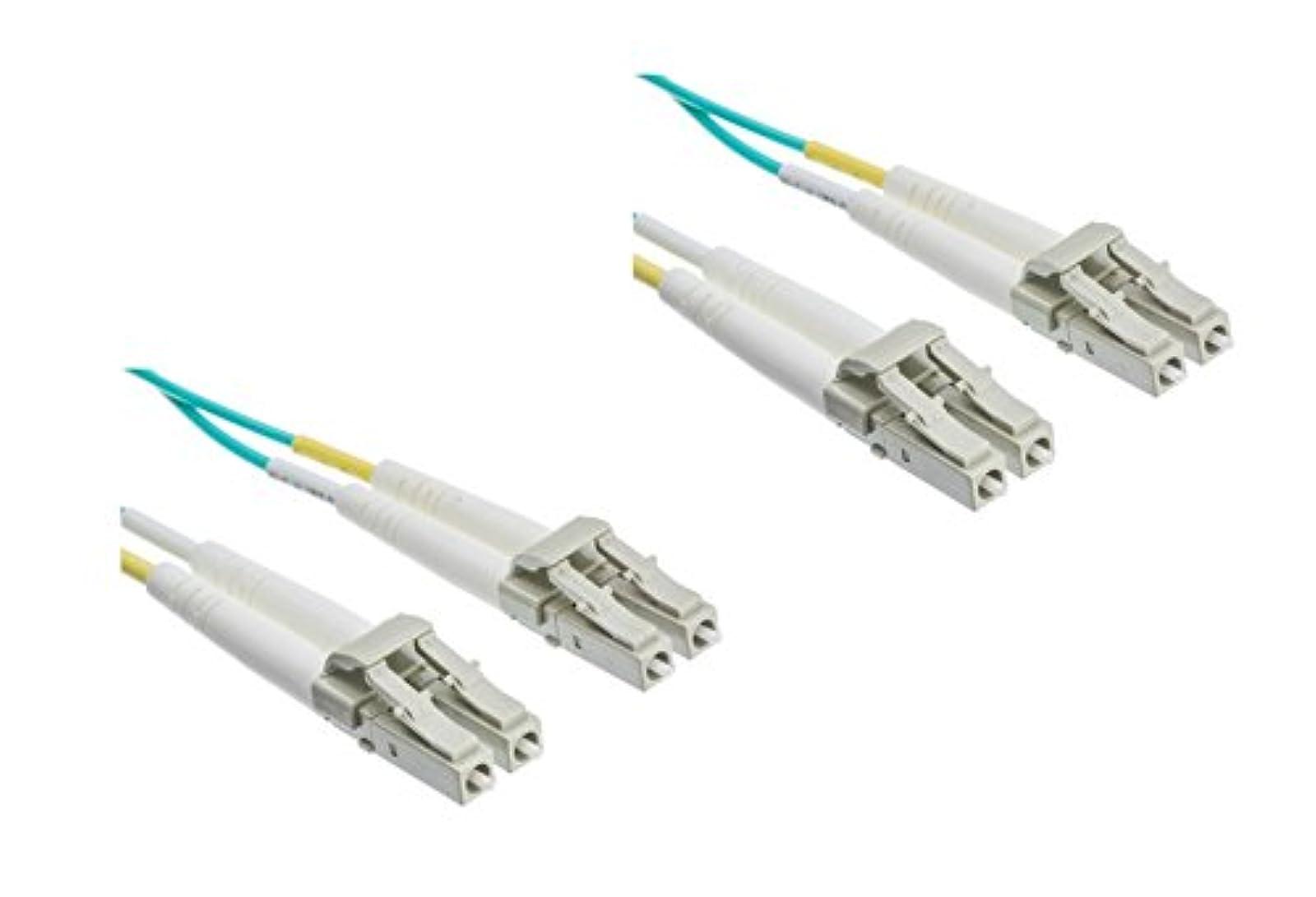 2 Pack 15 Meter 10 Gigabit Aqua Fiber Optic Cable Lc/lc Multimode Duplex 50/125