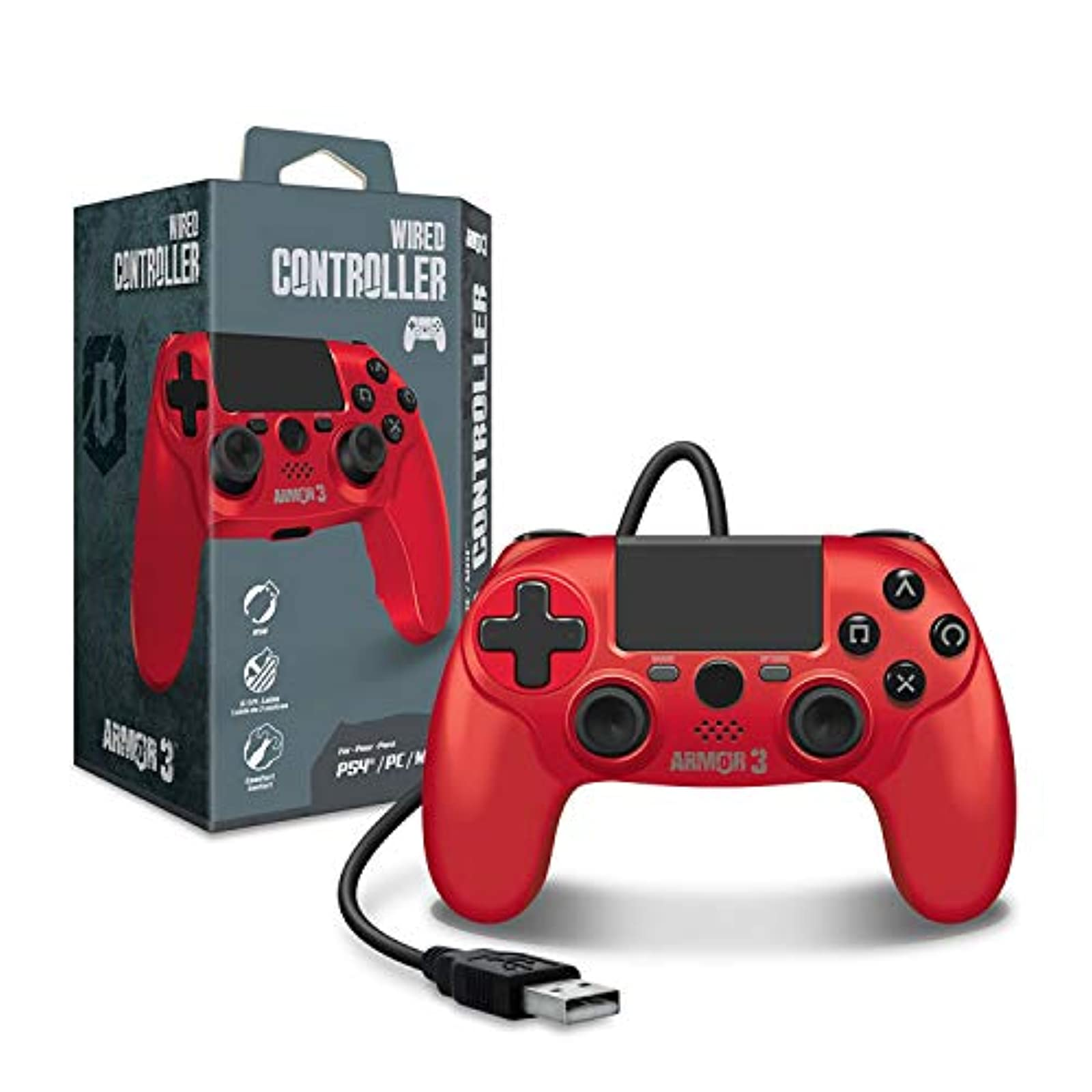 Armor3 Wired Game Controller For PS4/ PC/ MAC Red For PlayStation 4