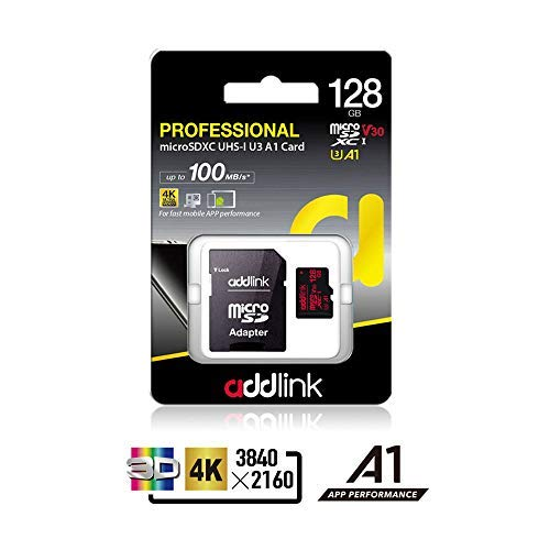 Addlink 128GB Micro SD Card SDXC U3 V30 A1 Memory Card With Adapter With Read 10
