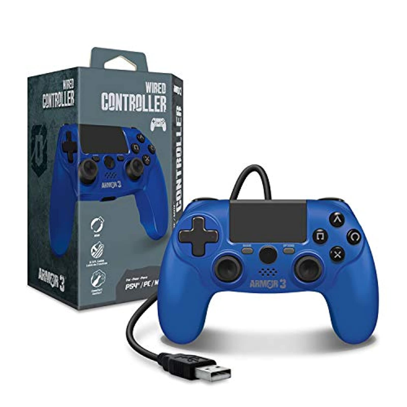 ARMOR3 Wired Game Controller For PS4/ PC/ MAC Blue For PlayStation 4