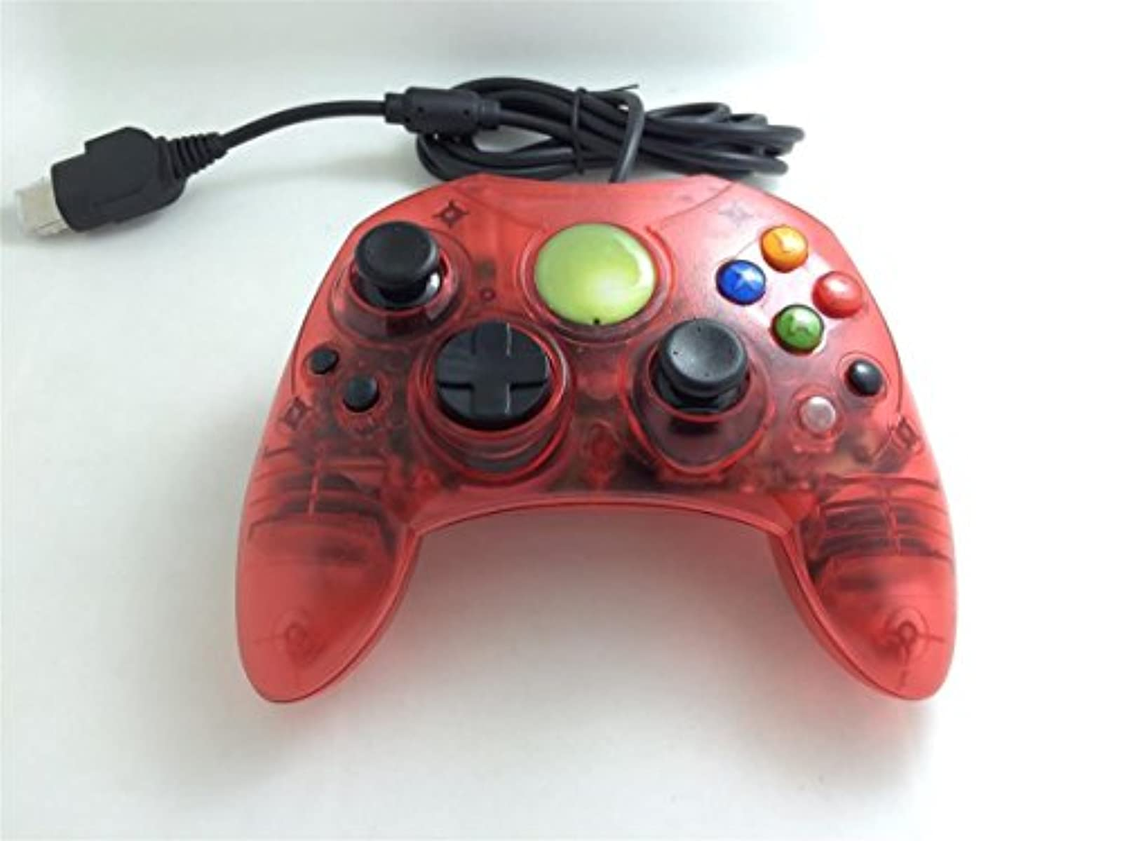 Clear Red Wired Controller For Xbox S-Type Shock Vibration Feedback Motors Game