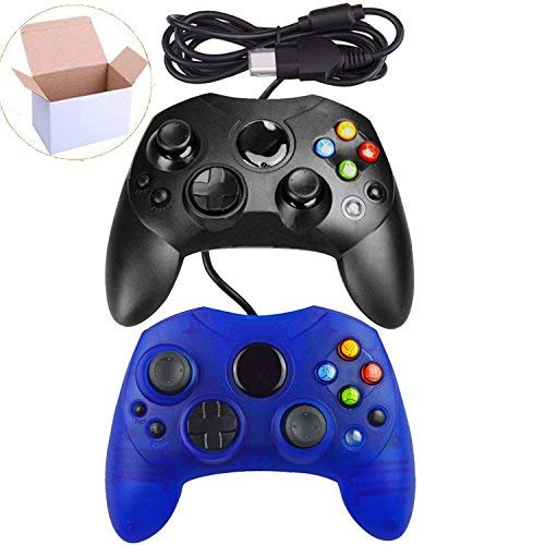 Lot Of 2 Wired Controller S Type Console Black And Clear Blue For Xbox