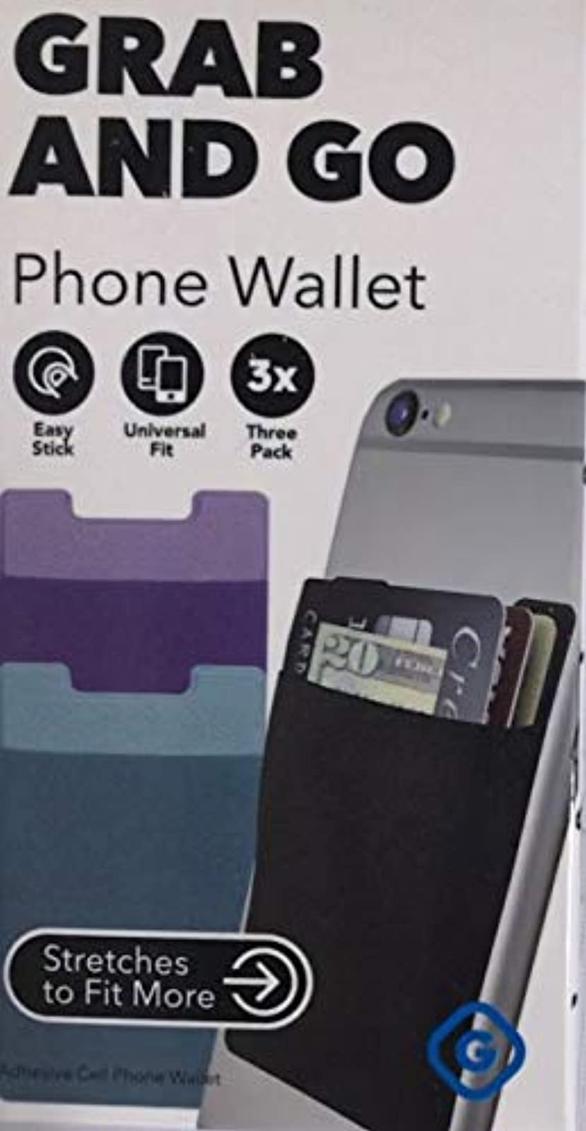 Gems 3 Pack Phone Wallet Pack 1 Each Black Purple And Turquoise Case Cover