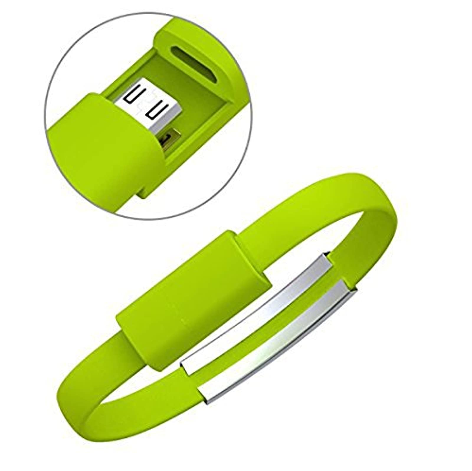 Micro USB Cable Bracelet For Android Smartphones And Other Devices Lime Green Ch