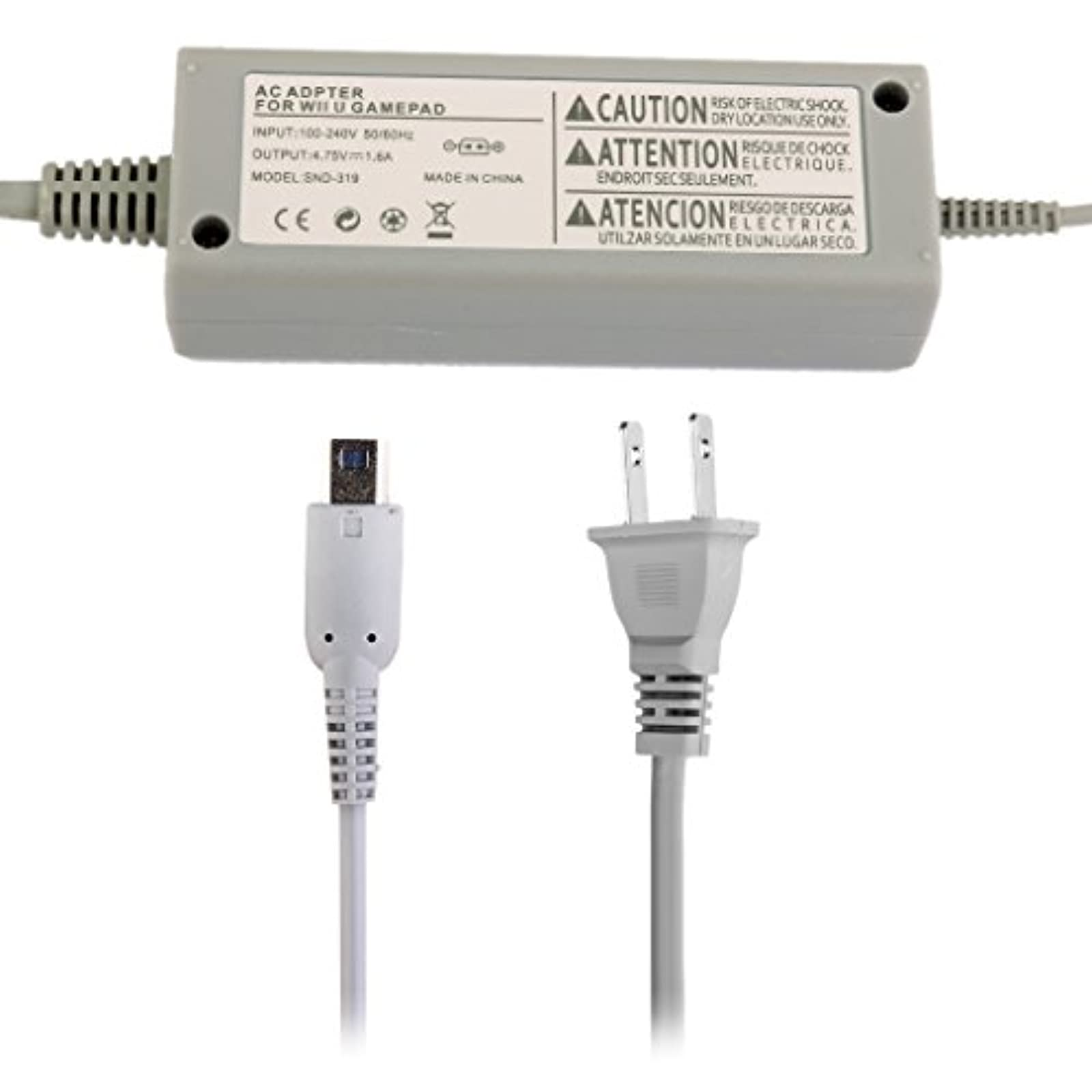 AC Power Adapter Charger Charging Cable For Wii U Gamepad US Plug