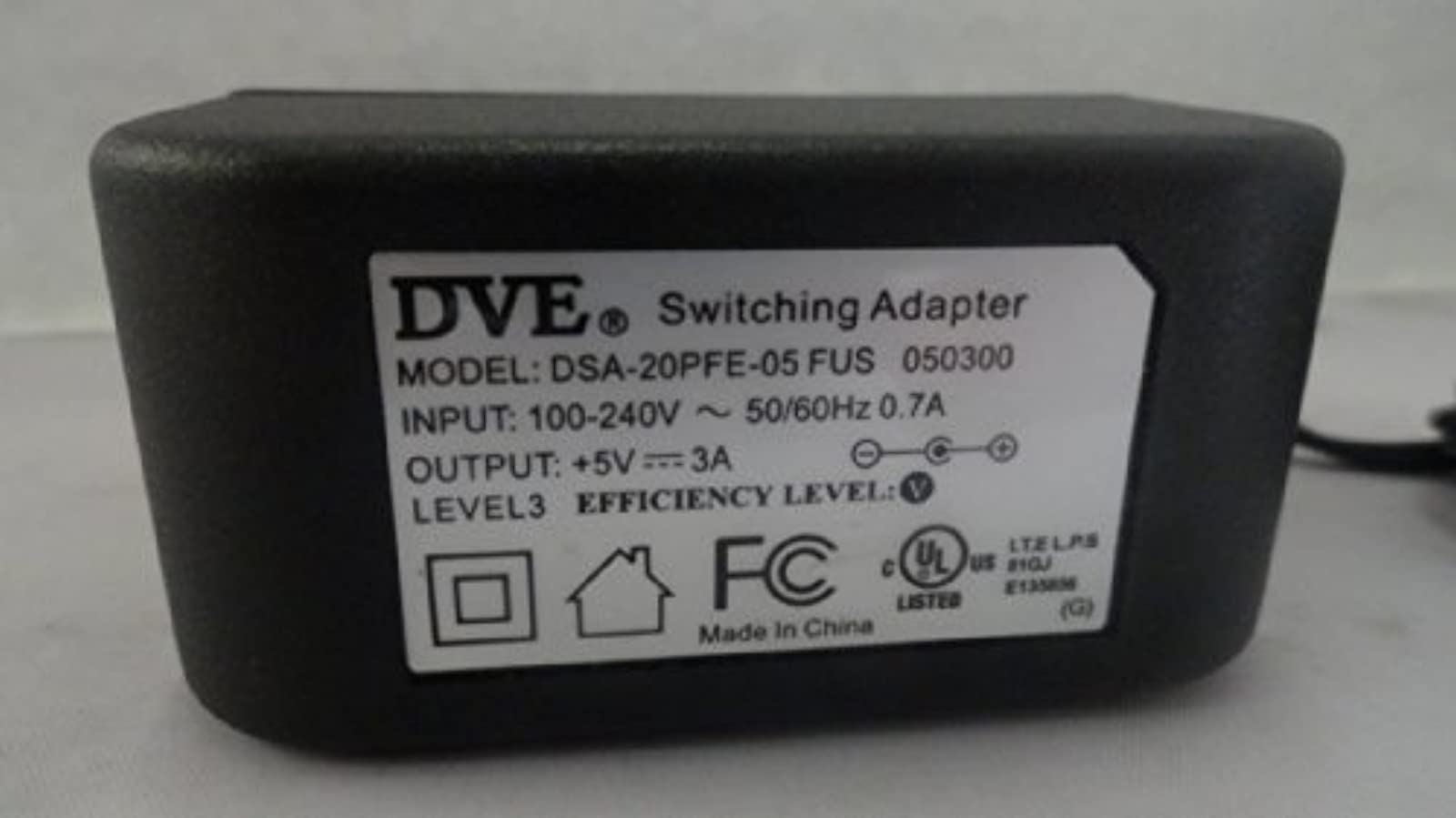 Dve AC Adapter Power Supply 5V 3A Model: DSA-20PFE-05 Fus 050300 Wall Charger To