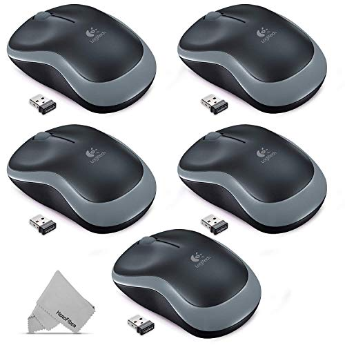 5 Pack Logitech M185 Plug And Play Wireless Mouse Kit With Portable USB Nano Rec
