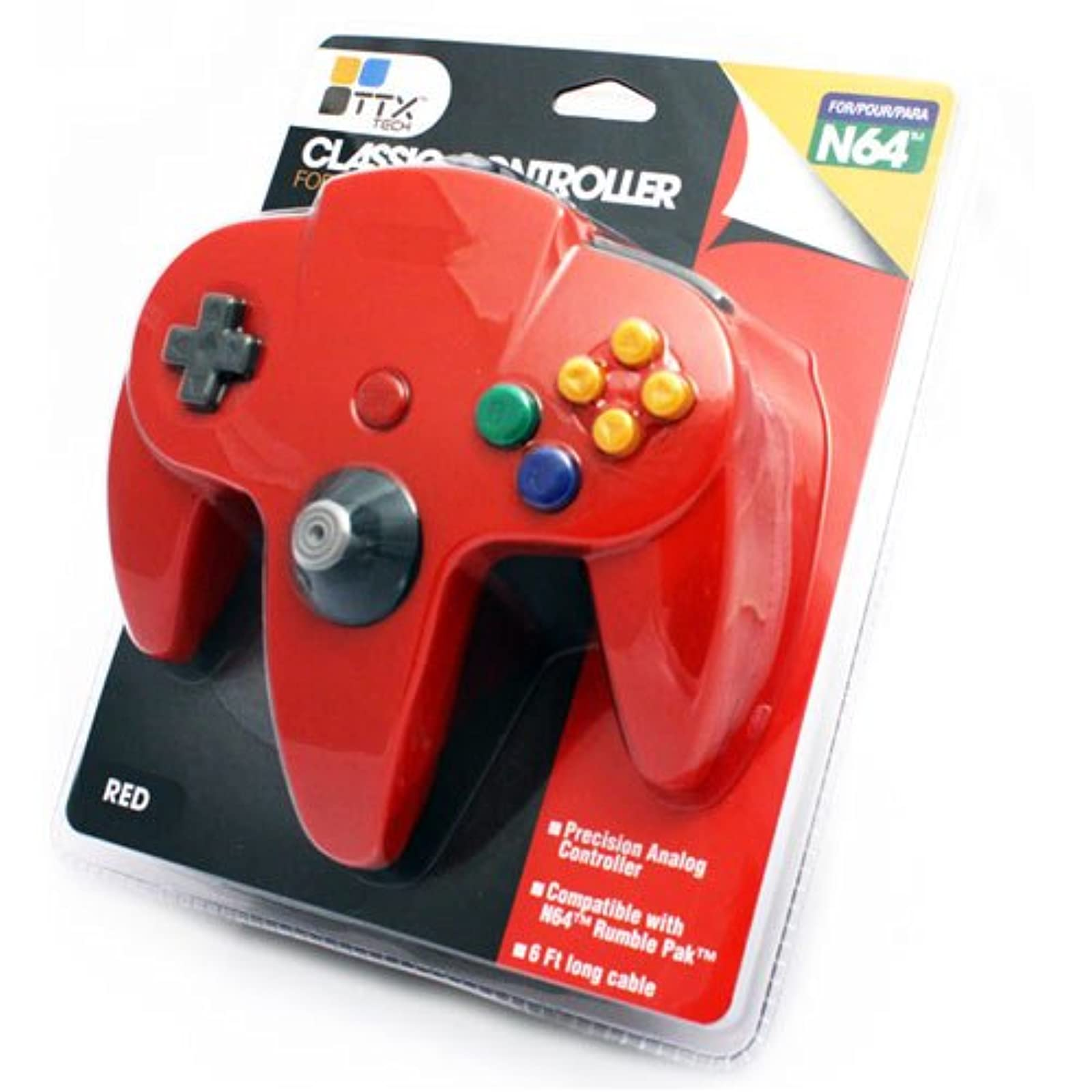 Controller Solid Red Third Party For N64 Nintendo