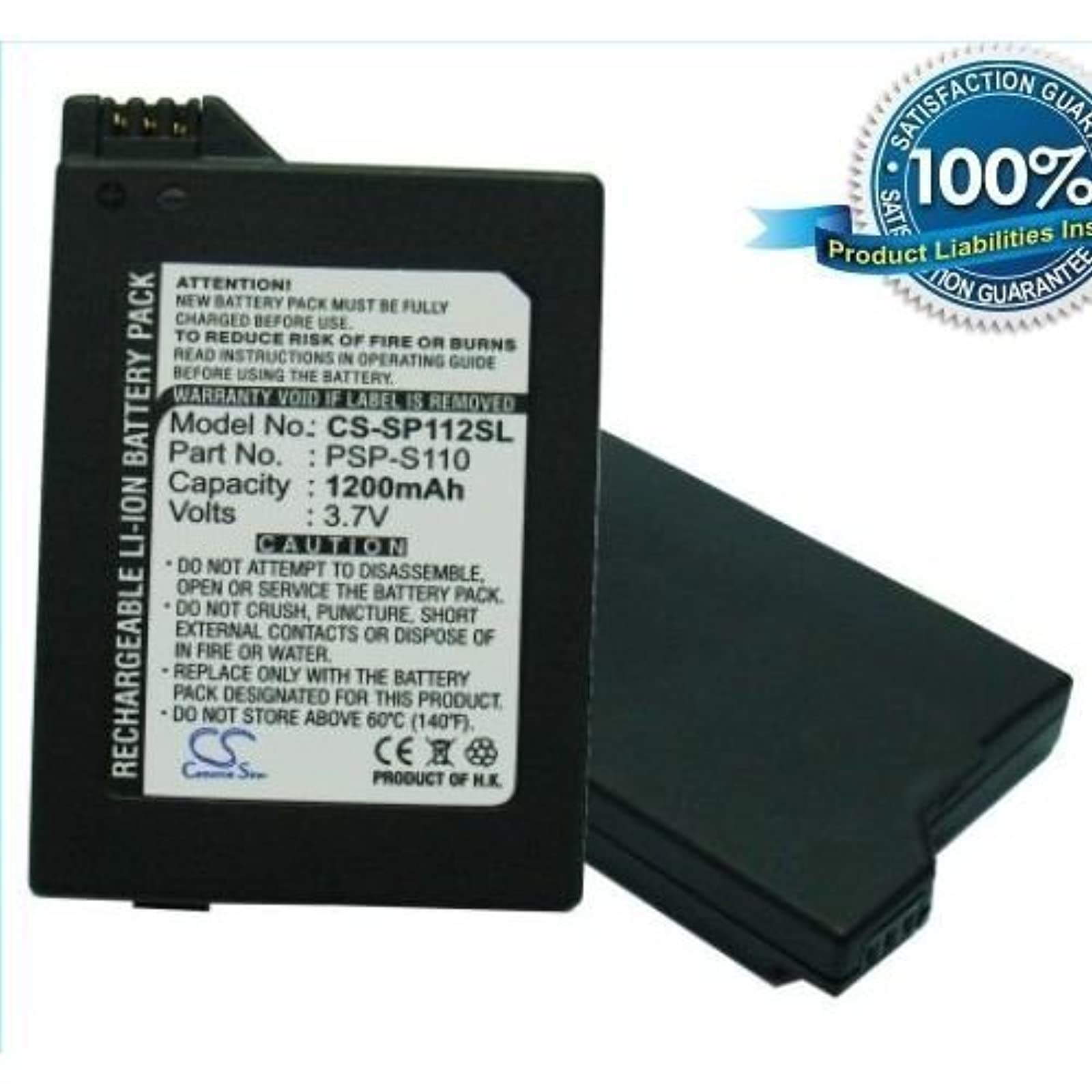 1200MAH PSP-S110 Battery Sony PlayStation Silm PSP-3000 PSP-3004 By Generic