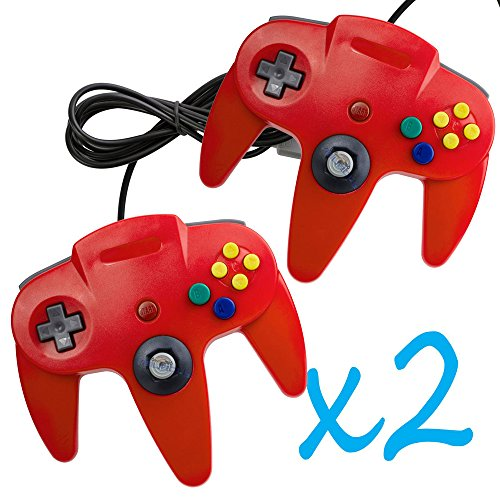 2 PCS Long Controller Game System For Nintendo 64 Red For N64