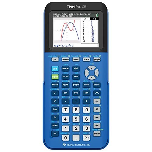 Texas Instruments 84PLCE/TBL/1L1/X TI-84 Plus Ce Graphing Calculator Bionic Blue