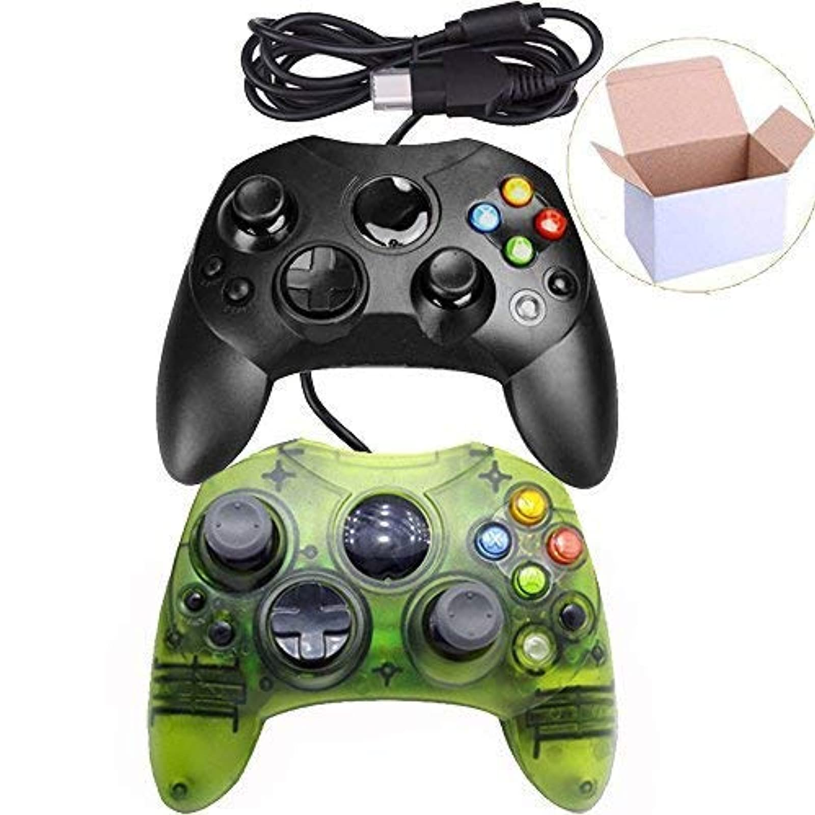 Lot Of 2 Wired Controller S Type Black And Clear Green For Xbox