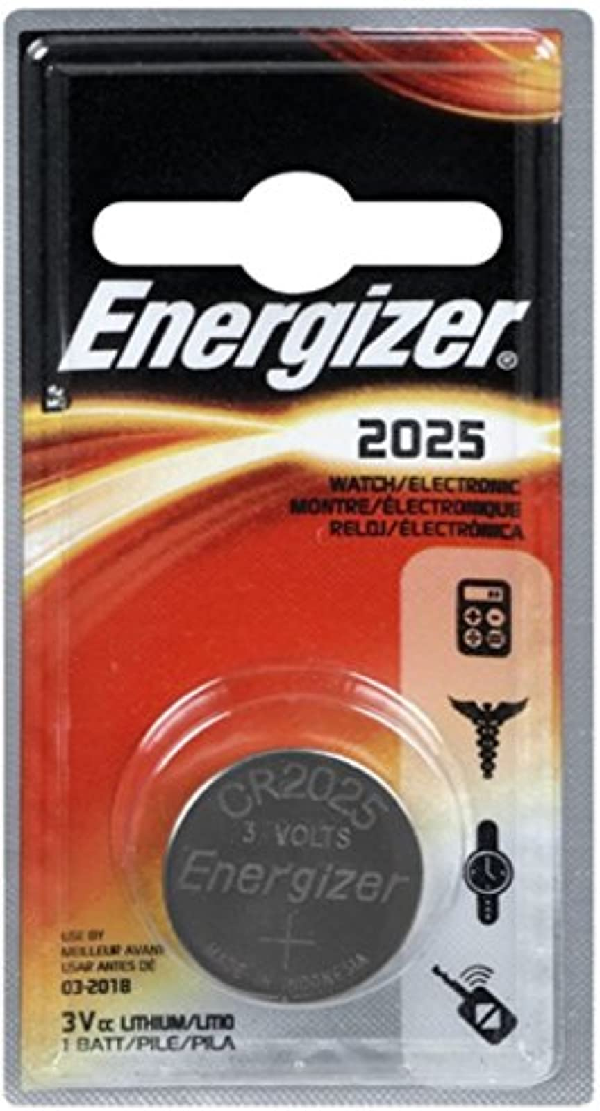 Energizer Watch/electronic Battery 3 Volt 2025 1 Each Pack Of 2 Silver