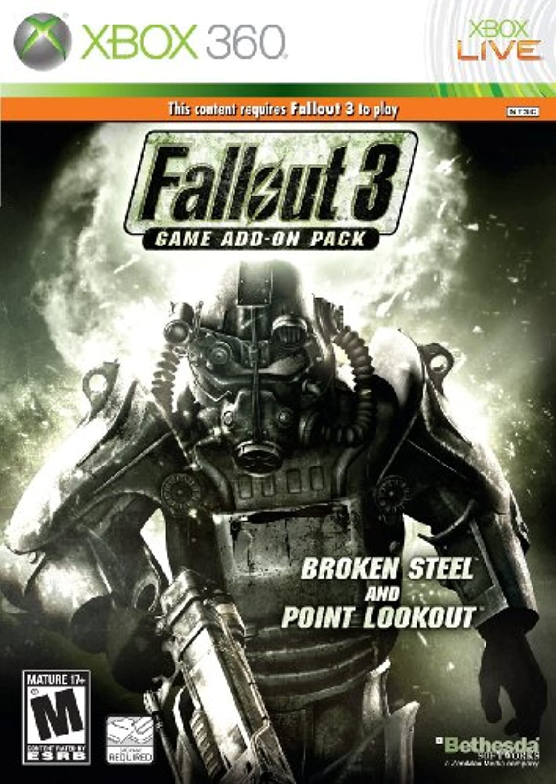 Fallout 3 Game Add-On Pack: Broken Steel And Point Lookout For Xbox 360 RPG