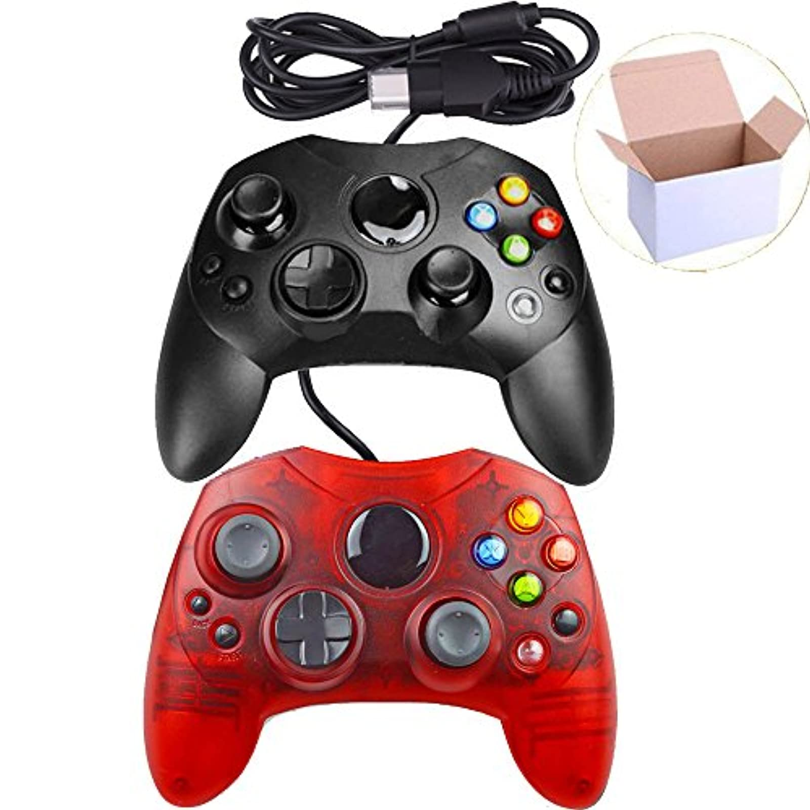 Lot Of 2 Wired Controller Gamepad Joysticks S Type Console Black And