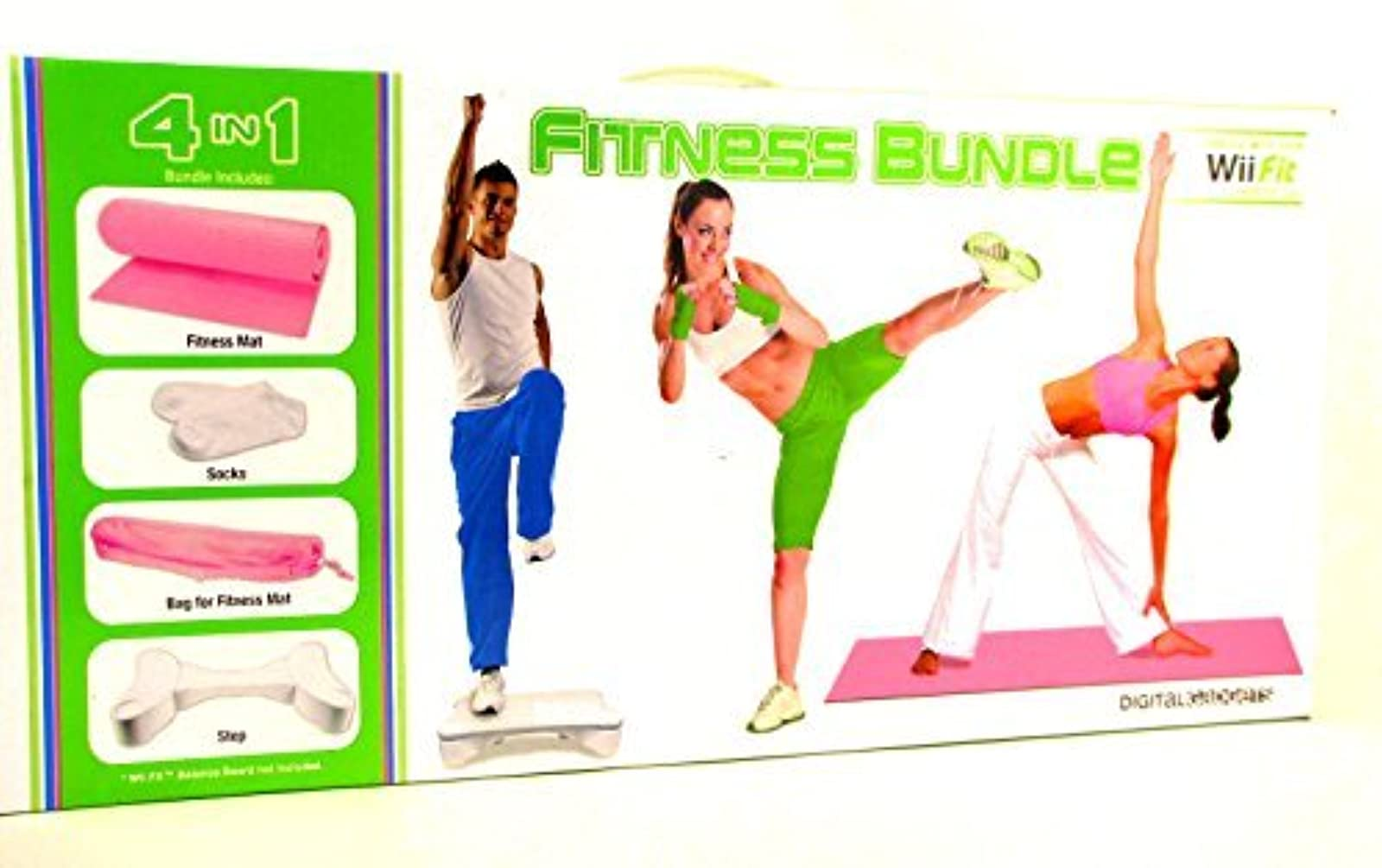 4 In 1 Wii Fit Fitness Bundle Includes Mat Step Textured Socks And Carry Bag Pin