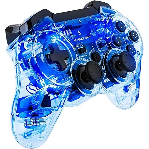 PDP Afterglow Wireless Controller For PS3 Blue For PlayStation 3 Clear Gamepad 0