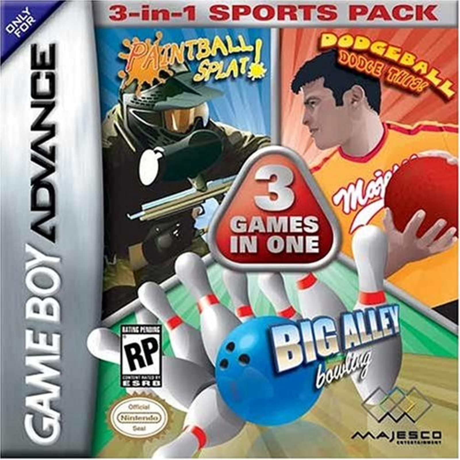 Dodge Ball/bowling/paintball 3-IN-1 Sports Pack Game Boy Advance For GBA Gameboy