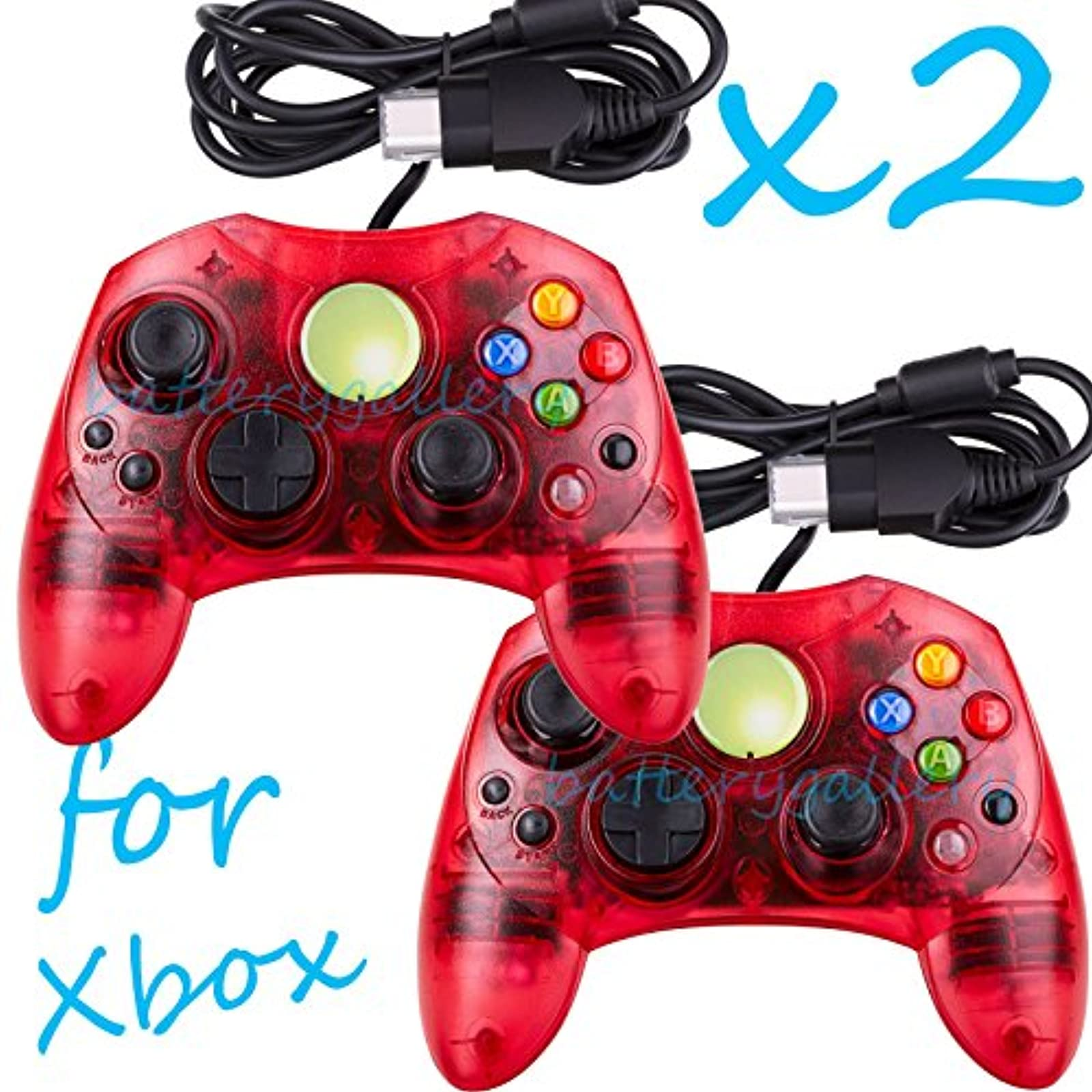 2 Lot Red Controller Control Pad For Original Microsoft Xbox X System
