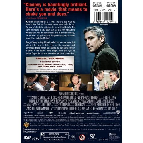 Image 3 of Michael Clayton Full Screen Edition On DVD with George Clooney Mystery